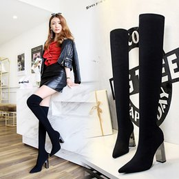 super thigh high boots 2019 - Pointed Toe Metal Decoration Fashion Women Over-the-Knee Boots Super High Solid Long Thigh Boots Square Heel Winter Shoe
