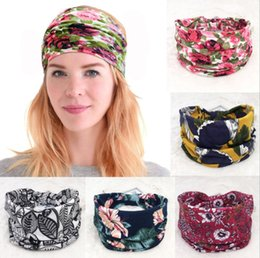 $enCountryForm.capitalKeyWord NZ - Fashion Ethnic Wind Hair Band width Edge Printing Headband Vintage floral solid color Retro Sports Yoga Hair accessories B11