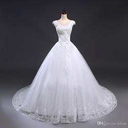 $enCountryForm.capitalKeyWord Australia - White Ivory New Full Length Cap Shoulder Applique Beads Wedding Dress Bridal Gown Custom Plus Size lace Up Back For Wedding Formal Occasion
