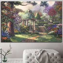 16x24 Painting Australia - Gazebo Of Prayer Thomas Kinkade The Emerald City Poster Painting on Canvas Bedroom Wall Art Decoration Pictures Home Decor