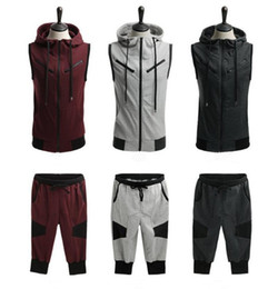 Wholesale sleeveless hooded pullover online – oversize New Mens Tracksuit Summer Hooded Sleeveless Top Pants Sets Sport Suit Training Gym Fitness Tracksuits Running Set