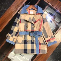 $enCountryForm.capitalKeyWord Australia - Children windbreaker kids designer clothing male girl color matching plaid coat autumn long sleeve large lapel coatnew