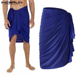 Pajamas Towel Australia - 2019 Fashion Men Bath Towel Skirts Leisure Bathrobes Solid Color Homewear Loose Pajamas Beach Men Towel Skirts Blanket INCERUN