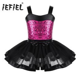 Discount leather tutu - Professional Ballet Tutu Dress for Kids Girls Sleeveless Sequined Ballet Dance Gymnastics Leotard Girls Danse Classique
