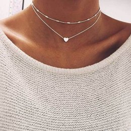 Heart Double Chain Australia - Famshin Fashion Gold Silver Color Love Heart Necklaces & Pendants Double Chain Choker Necklace Collar Women Jewelry Gift C19041501