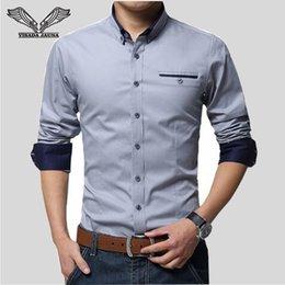 Design Red Shirt Australia - Visada Jauna New Men Shirts Business Long Sleeve Turn-down Collar Cotton Male Shirt Slim Fit Popular Designs N837 Q190518