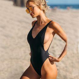 44a47bec296fd 2019 Hot Women Bikini One Piece Swimwear Sexy Swimsuit Set Push Up  Brazilian Plus Size Solid High Waist Black QINGCHUNSOTRE