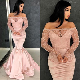 Discount long sleeved prom gowns - Modern Rose Pink Evening Dresses 2019 Off The Shoulders Long Sleeved Prom Gowns See Through With Beadings Pageant Dress