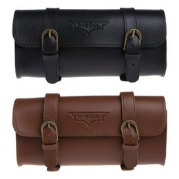 faux leather handles wholesale Australia - Cycling Bag Faux Leather Bicycle Tail Rear Saddlebag Vintage Retro Bike Pannier