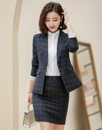 Office Style Suits Australia - High Quality Formal Grey Blazer Women Business Suits Skirt and and Jacket Sets Ladies Work Wear Office Uniform Style