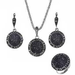 black white resin rings Australia - Resin Necklaces Earrings Ring Sets 3PCS for Women Vintage Boho Round Gravel Vintage Bride Wedding Black Natural Stone Jewelry Accessories