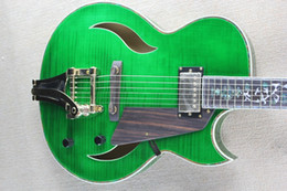 China Custom factory discount price, tree of life inlaid fingerboard F hole green electric jazz guitar and gold hardware, high quality customizati suppliers