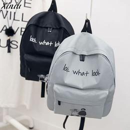 $enCountryForm.capitalKeyWord Australia - Fashion Backpack Women Men Letter Printing Canvas School Bag Cute Girl Back Pack Lover Schoolbag Travel Casual Bagpack #6222