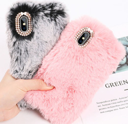 Plush Phone Cases NZ - Luxury Warm Rabbit Fur Plush Diamond Phone Case For Iphone X 6 6s Plus 7 7plus 8 Plus Lovely Cute Furry Soft Tpu Hair Back Cover
