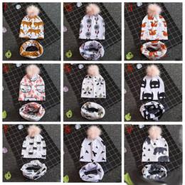 Animal Caps Faux Fur Australia - Baby Animals Prints INS Beanie Hats panda Shark Bear Girls Boys Faux Fur Pompom Ball Earmuffs cap+scarves set
