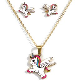 wholesale pink gift sets 2019 - 2019 Cartoon Cute Pink Horse Unicorn Design Enamel Gold Color Necklaces earring Fashion Jewelry Set Kids Gift cheap whol