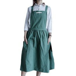 shop aprons Canada - Nordic Pleated Skirt Apron Cotton Linen Bib With Pocket Flower Coffee Shop Cooking Baking Crafting Gardening Serving