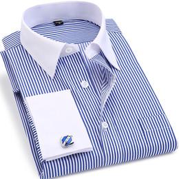 $enCountryForm.capitalKeyWord NZ - ORINERY Hot Sale Striped Mens Dress Shirt Fashion Brand Long Sleeve Camisa Masculina French Cuff Wedding Tuxedo Shirt Plus Size #389389