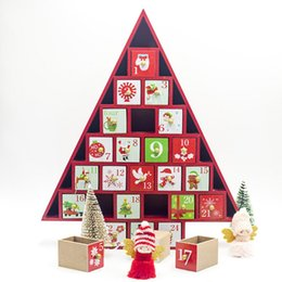 tree shaped tables Australia - Christmas Gift Ornament Toy Table Wooden Decor Calendar 24 Drawers Countdown Tree Shape Colored Storage Box Xmas Gift Party