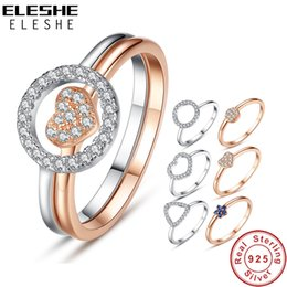 Hollow Fingers Australia - ELESHE Fashion Sparkling Cubic Zirconia Crystal Hollow Round Finger Ring Real Solid 925 Sterling Silver Rings for Women Jewelry