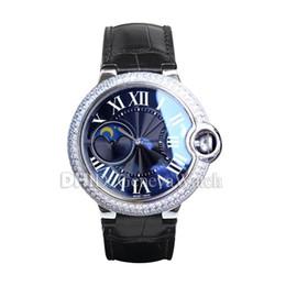 $enCountryForm.capitalKeyWord Australia - Blue Ball Diamond Watch 42mm Luxury Mens Watches Mechanical Automatic Movement diamond bezel Sapphire Leather Band Black Dial montre de luxe
