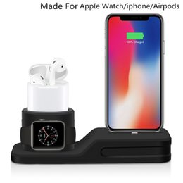 Packed Iphone Australia - New 2019 4 in1 Soft Silicone Stand for Iphone Airpod Iwatch Multi-Functional Charing Stand Fit for wireless charging with retail packing