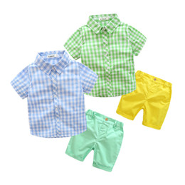 Wholesale kids clothes stands resale online - Baby boys Lattice outfits children Plaid Stand Collar Shirt top shorts set summer Boutique kids Gentleman Clothing Sets C6337