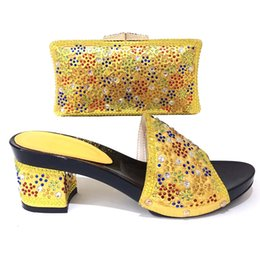 blue booties women NZ - Yellow Color Shoe and Bag Set New 2019 Women Shoes and Bag Set African Wedding Sandals Italian Lady Shoes with Matching Bags Set