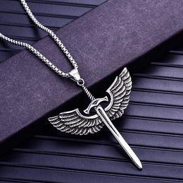 Necklaces Pendants Australia - Vintage Fashion Men's Archangel Michael Angel Wing Sword Titanium Steel Pendant Necklace Gothic Jewelry Gift