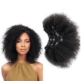 4c human hair UK - Brazilian Virgin human Hair extensions Attractive Afro curly 4c clip in hair Natural black 10-22inch Indian remy Hair 7pcs set 3set lot
