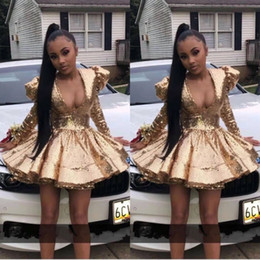 Black short puffy homecoming dress online shopping - African Black Girl Sexy V Neck Gold Full Sequined Cocktail Dresses Puffy Shoulder Pad Short Prom Dress Long Sleeve Homecoming Gown