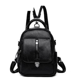 Backpack Solid Australia - good quality Vintage Pu Leather Backpack For Women Solid Color Rucksack For Female Korean Style Large Capacity Backpac For Women
