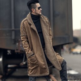 Real fleece online shopping - Men Real Leather Fur Liner Fleece Parkas Trench Coat Loose Outwear Knee Length Double Sided Wear Colors