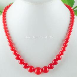 $enCountryForm.capitalKeyWord NZ - WOJIAER New Fashion Jewelry Red Jades Gem Stone Round 6~14mm Beads Women Necklace 17.5 Inches LF3002