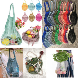 Food nets online shopping - Reusable String Shopping Fruit Vegetables Grocery Bag Shopper Tote Mesh Net Woven Cotton Shoulder Bag Hand Totes Home Storage Bag dc914