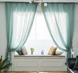 Decoration Screen Australia - Beautiful romantic silk screen mint green cotton yarn polyester material fresh Joker Sheer Curtains living room decoration finished custom
