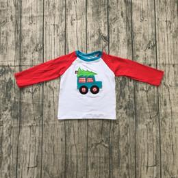 boy cars t shirts 2019 - winter Christmas tree baby boy boutique t-shirts clothes car trucker cotton top children raglans kids wear long sleeve r