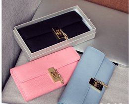 Wholesale high quality w329 colors genuine leather chain buckle long wallet large purse luxury inspired pink blue black