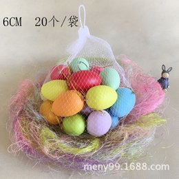 diy easter decorations NZ - New Easter Decoration For Home Kids Children DIY Painting Egg 40x60mm With Rope Gifts Plastic Hanging Easter