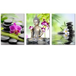 zen wall art Australia - 5D Diamond Embroidery Diy Diamond Painting Buddha 3pcs diamond mosaic Wall Art,Spa Zen Stone Orchid Flower Home Decor Art JS5300