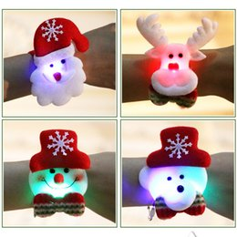 Glow Party Decorations Australia - Children Christmas Gift Glowing Kids Bracelet Clap Circle Pat Hand Decoration Snowman Elk Santa Claus Bear Party Ornaments