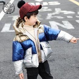 oil warmers 2019 - Child Clothes Winter Boy Parkas Coat Oil Short Cotton Padded Jacket Boys Fashion Kids Hooded Zipper Warm Windproof Overc