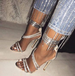 cheap high heel stilettos UK - Summer Hot Woman Cheap High Quality Big Size Crystal Diamond Bling Bling Ankle Cross Lace Up High Heel Wedding Sandals Lady