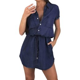 063a19e1fb7e Women Short Sleeve Shirt Dress Summer Casual Button Boyfriend Mini Dress  Retro Collar Casual Vestidos De Verano Vestidos#30