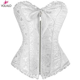 66be0fe70bc 2019 New Women Front Overbust Zip Corset Jacquard Floral Lace Up Boned  Shaperwear Fashion Steampunk Bustiers Gothic Clubwear