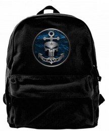 anchor bags zipper NZ - Military Series Navy Skull Anchor Fashion Canvas designer backpack For Men & Women Teens College Travel Daypack Leisure bag Black