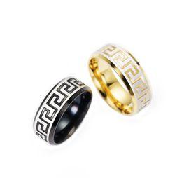 316 steel rings online shopping - Luxury large wide mm Titanium Steel K yellow gold plated greek key wedding band ring men women silver gold tone