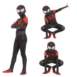 Boys spider man suit online shopping - Boys Halloween Spider Man Into the Spider Verse Cosplay suits New Kids Avengers Spiderman costume cosplay clothes mask sets B