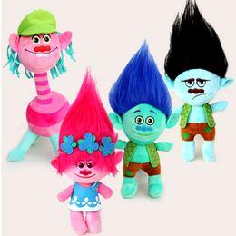 Figures Australia - 4Pcs  Set 23Cm Trolls Cartoon Movie &Tv Figure Plush Dolls Trolls Doll Toys Fashion Doll Children Gift In -Stock Items