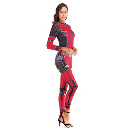 Wholesale deadpool costumes free shipping online – ideas Comedy Deadpool Cosplay Costume for Women Adult Super HERO Movie sexy Jumpsuit Halloween Party stage outfits Catsuit Bodysuit